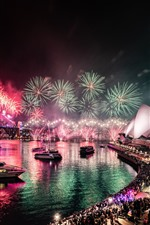 Preview iPhone wallpaper Australia, Sydney, bay, beautiful fireworks, night