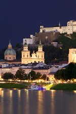 Austria, Salzburg, city, river, trees, castle, night, lights