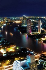 Preview iPhone wallpaper Bangkok, Thailand, city night, skyscrapers, lights, river, bridge