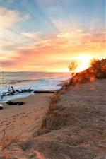 Praia, areias, mar, ondas, pôr do sol