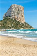 Praia, mar, rochas, ondas, céu azul