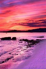 Praia, mar, pôr do sol, cidade, luzes, céu vermelho