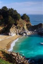 Preview iPhone wallpaper Beach, sea, waterfall, rocks