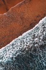 Praia, mar, ondas, espuma, vista de cima