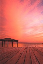 Preview iPhone wallpaper Beach, sea, wood board, sunset, red sky