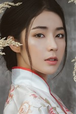 Preview iPhone wallpaper Beautiful Chinese girl, face, hairstyle, reeds