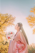 Preview iPhone wallpaper Beautiful Chinese girl, retro style, trees, autumn