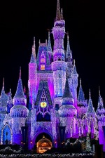 Preview iPhone wallpaper Beautiful Disneyland, castle, shining lights, night