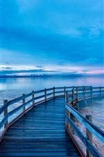 Beautiful Yellowstone National Park, lake, bridge, morning, USA