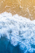 Preview iPhone wallpaper Beautiful beach, sea, foam, top view