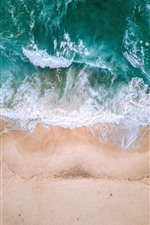 Preview iPhone wallpaper Beautiful beach, sea, waves, foam, top view