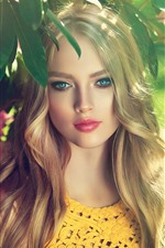 Preview iPhone wallpaper Beautiful blonde girl, blue eyes, pink flowers