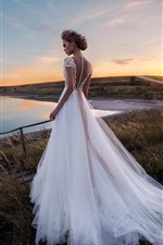 Preview iPhone wallpaper Beautiful bride, white skirt, grass, lake, moon, dusk