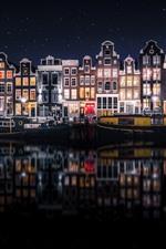 Beautiful city night, Amsterdam, Netherlands, houses, river, starry