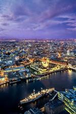 Bela cidade à noite, Londres, Rio, ponte, luzes, nuvens roxas, Reino Unido