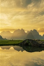 Preview iPhone wallpaper Beautiful morning, village, river, bridge, mountains, water reflection, China