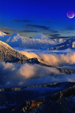 Preview iPhone wallpaper Beautiful nature landscape, mountains, snow, clouds, moon, fog, winter