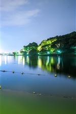 Preview iPhone wallpaper Beautiful park at night, Hangzhou West Lake, China