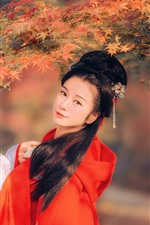 Preview iPhone wallpaper Beautiful retro style Chinese girl, red maple leaves, autumn