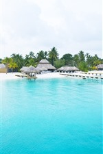 Preview iPhone wallpaper Beautiful sea, beach, coast, palm trees, resort, hut