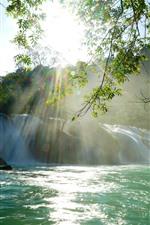 Preview iPhone wallpaper Beautiful waterfall, sun rays, lake, twigs