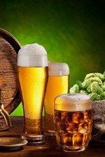 Preview iPhone wallpaper Beer, foam, glass cups, barrel, bottle, hops, wheat