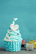 Preview iPhone wallpaper Birthday cake, blue cream, candle, love heart, gifts