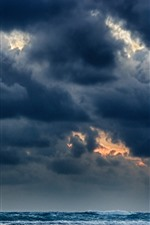 Preview iPhone wallpaper Black clouds, sea, storm
