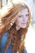 Blonde girl, flowers, bright sunlight, shine