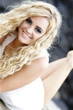Preview iPhone wallpaper Blonde girl, smile, pose