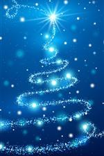 Árvore de Natal azul, brilho, estrelas