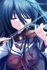 Preview iPhone wallpaper Blue hair anime girl, play violin