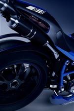 Motocicleta azul, roda