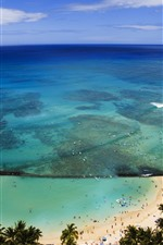 Preview iPhone wallpaper Blue sea, beach, people, tropical