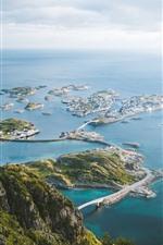 Mar azul, ciudad, puente, Islas