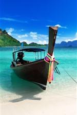 Barco, mar azul, praia, tropical