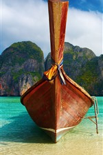 Preview iPhone wallpaper Boat front view, beach, sea, mountains