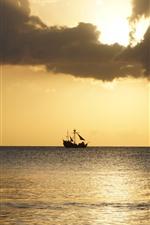 ボート、海、夕焼け、空、雲