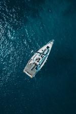Barco, mar, vista superior