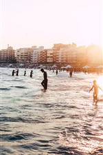 Preview iPhone wallpaper Brazil, beach, sea, waves, people, backlit