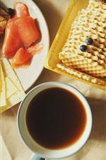 Bread, cookies, coffee, oranges, breakfast
