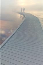 Preview iPhone wallpaper Bridge, fog, lake, Yellowstone National Park, USA