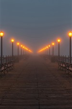 Preview iPhone wallpaper Bridge, lamps, bench, fog, night