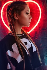 Preview iPhone wallpaper Brown hair girl, braids, neon lights