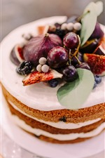 Preview iPhone wallpaper Cake, figs, grapes, delicious