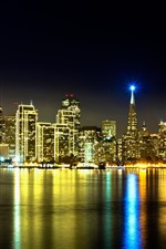 Preview iPhone wallpaper California, city night, skyscrapers, river, lighting, water reflection