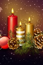 Preview iPhone wallpaper Candles, flame, Christmas balls, decoration, snowflakes, art picture