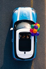 Preview iPhone wallpaper Car, road, desert, colorful balloons