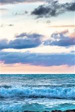 Caribe, mar, ondas, espuma, nuvens, garota, rochas