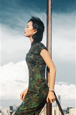 Preview iPhone wallpaper Cheongsam woman, roof, sky, clouds